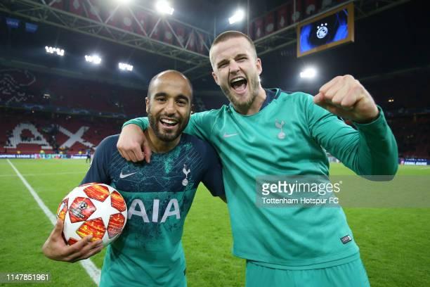 Lucas Moura of Tottenham Hotspur celebrates victory with Eric Dier of Tottenham Hotspur after the UEFA Champions League Semi Final second leg match...