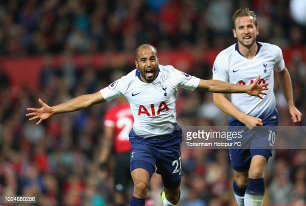Lucas Moura of Tottenham Hotspur celebrates with Harry Kane after scoring his team's second goal during the Premier League match between Manchester...