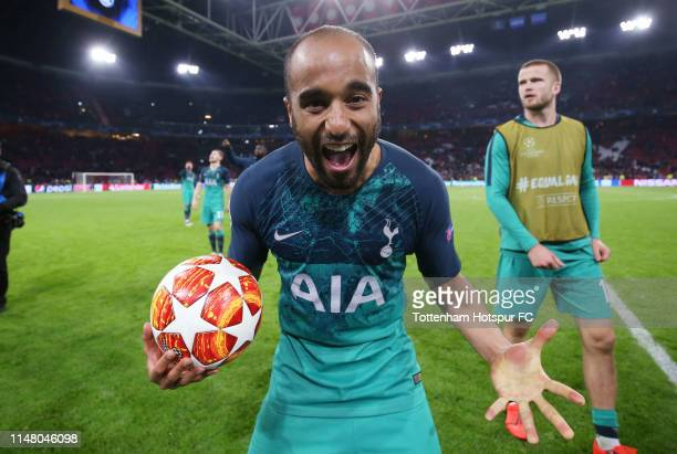 Lucas Moura of Tottenham Hotspur celebrates with the match ball after scoring a hat trick during the UEFA Champions League Semi Final second leg...