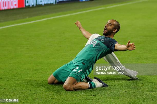 Lucas Moura of Tottenham Hotspur comes back out at full time to celebrate with the fans during the UEFA Champions League Semi Final second leg match...