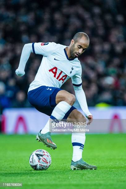 Lucas Moura of Tottenham Hotspur controls the ball during the FA Cup Third Round Replay match between Tottenham Hotspur and Middlesbrough FC at...