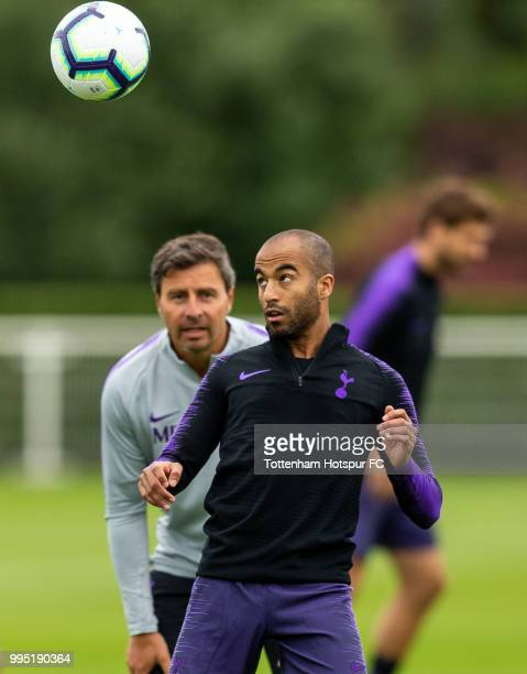 Lucas Moura of Tottenham Hotspur during pre season training at Tottenham Hotspur Training Centre on July 10 2018 in Enfield England