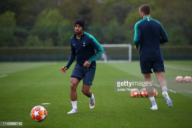 Lucas Moura of Tottenham Hotspur in action during a training session ahead of their UEFA Champions League Semi Final first leg match against Ajax on...