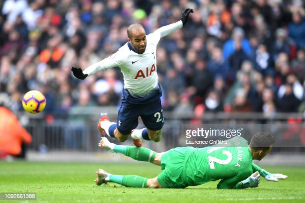 Lucas Moura of Tottenham Hotspur is challenged by Martin Dubravka of Newcastle United during the Premier League match between Tottenham Hotspur and...