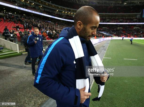Lucas Moura of Tottenham Hotspur is presented to the crowd at half time during the Premier League match between Tottenham Hotspur and Manchester...
