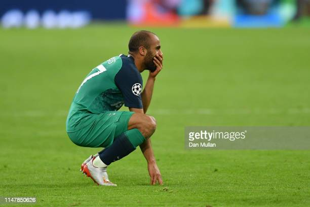 Lucas Moura of Tottenham Hotspur reacts after victory in the UEFA Champions League Semi Final second leg match between Ajax and Tottenham Hotspur at...