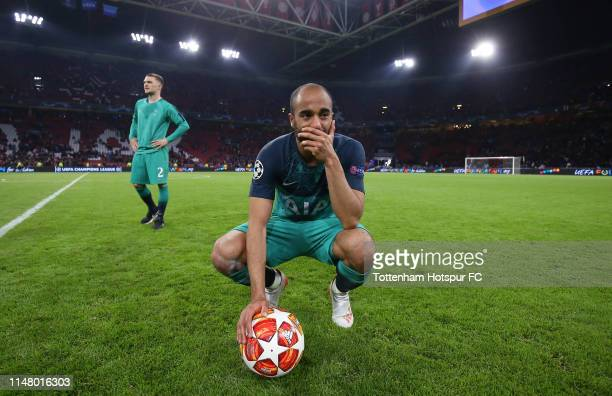 Lucas Moura of Tottenham Hotspur reflects during the UEFA Champions League Semi Final second leg match between Ajax and Tottenham Hotspur at the...