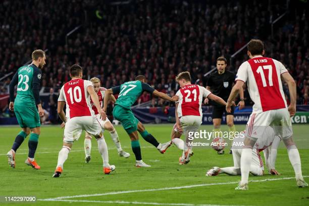 Lucas Moura of Tottenham Hotspur scores a goal to make it 22 during the UEFA Champions League Semi Final second leg match between Ajax and Tottenham...