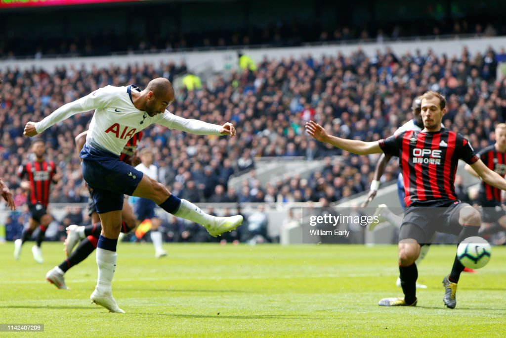 06b6ad28e Lucas Moura of Tottenham Hotspur scores during the Premier League ...
