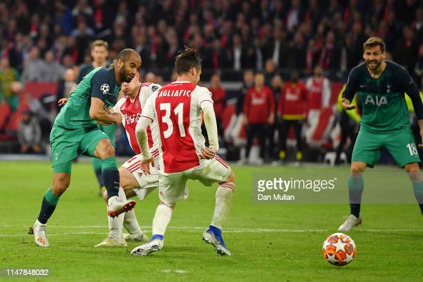 Lucas Moura of Tottenham Hotspur scores his hatrick and his sides third goal during the UEFA Champions League Semi Final second leg match between...
