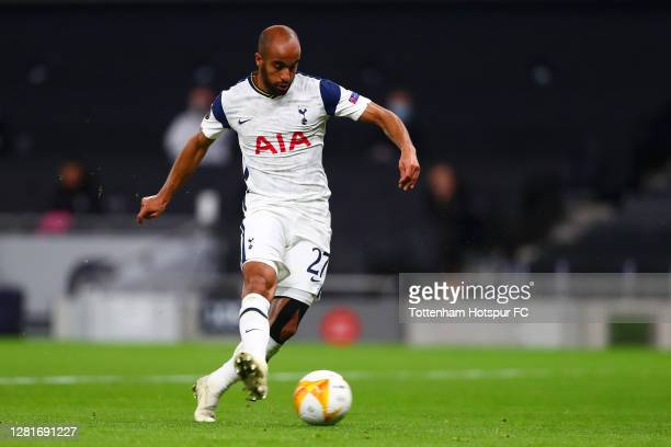 Lucas Moura of Tottenham Hotspur scores his sides first goal during the UEFA Europa League Group J stage match between Tottenham Hotspur and LASK at...