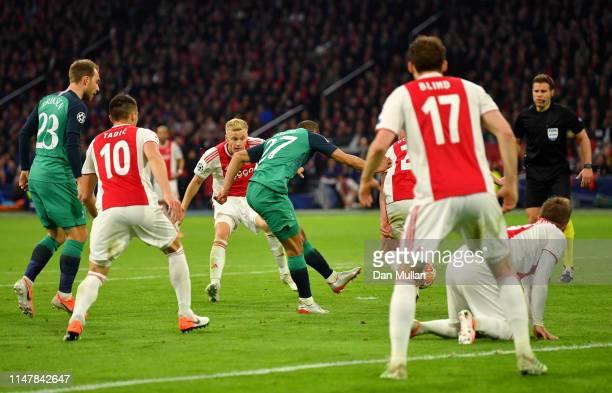 Lucas Moura of Tottenham Hotspur scores his sides second goal during the UEFA Champions League Semi Final second leg match between Ajax and Tottenham...