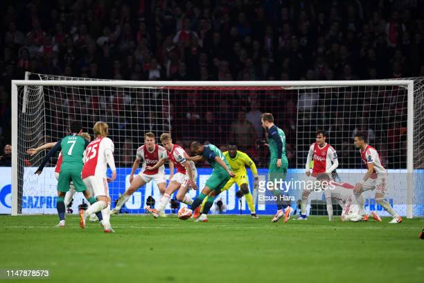 Lucas Moura of Tottenham Hotspur scores his side's second goal during the UEFA Champions League Semi Final second leg match between Ajax and...