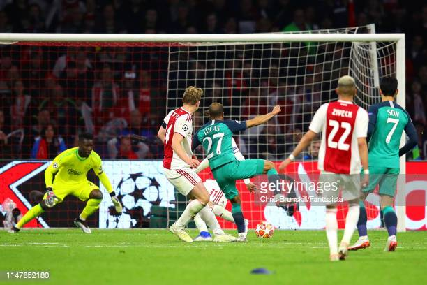 Lucas Moura of Tottenham Hotspur scores his side's third goal during the UEFA Champions League Semi Final second leg match between Ajax and Tottenham...
