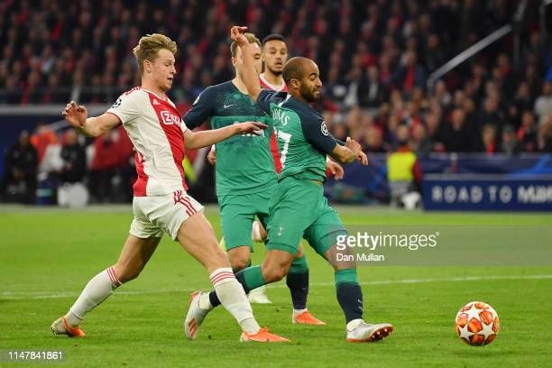 Lucas Moura of Tottenham Hotspur scores his team's first goal during the UEFA Champions League Semi Final second leg match between Ajax and Tottenham...