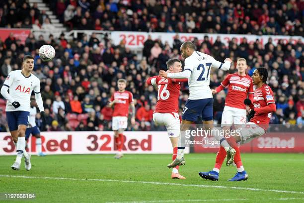 Lucas Moura of Tottenham Hotspur scores his team's first goal during the FA Cup Third Round match between Middlesbrough and Tottenham Hotspur at...