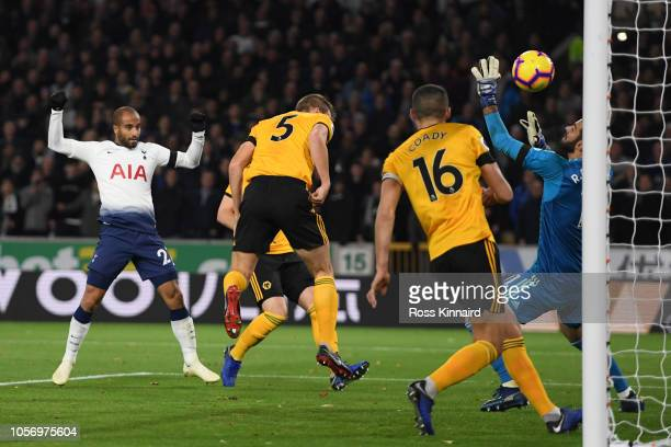 Lucas Moura of Tottenham Hotspur scores his team's second goal during the Premier League match between Wolverhampton Wanderers and Tottenham Hotspur...