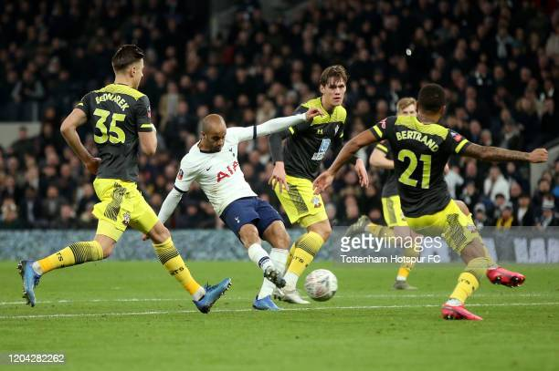 Lucas Moura of Tottenham Hotspur scores his team's second goal during the FA Cup Fourth Round Replay match between Tottenham Hotspur and Southampton...