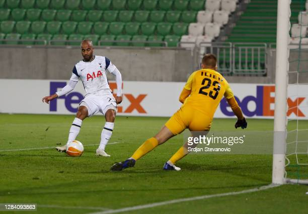 Lucas Moura of Tottenham Hotspur scores his team's second goal during the UEFA Europa League Group J stage match between PFC Ludogorets Razgrad and...