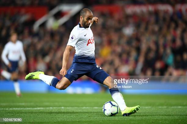 Lucas Moura of Tottenham Hotspur scores his team's third goal during the Premier League match between Manchester United and Tottenham Hotspur at Old...