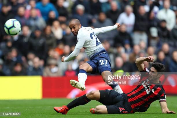 Lucas Moura of Tottenham Hotspur scores his team's third goal during the Premier League match between Tottenham Hotspur and Huddersfield Town at the...