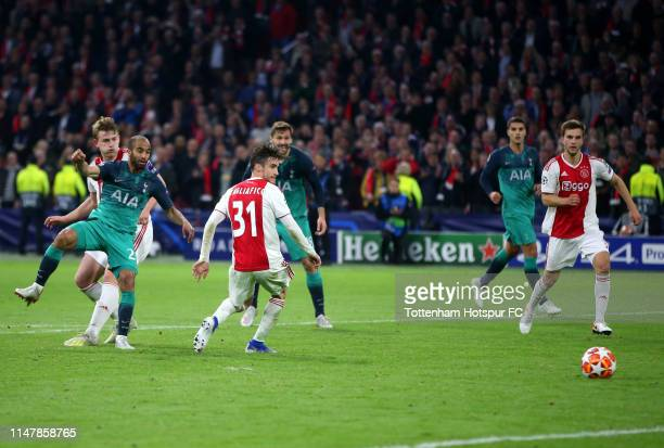 Lucas Moura of Tottenham Hotspur scores his team's third goal during the UEFA Champions League Semi Final second leg match between Ajax and Tottenham...