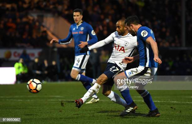 Lucas Moura of Tottenham Hotspur scores the first Tottenham Hotspur goal during The Emirates FA Cup Fifth Round match between Rochdale and Tottenham...