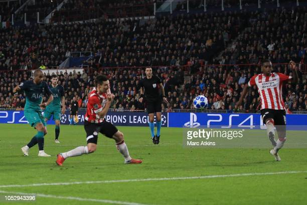 Lucas Moura of Tottenham Hotspur scores their 1st goal during the Group B match of the UEFA Champions League between PSV and Tottenham Hotspur at...