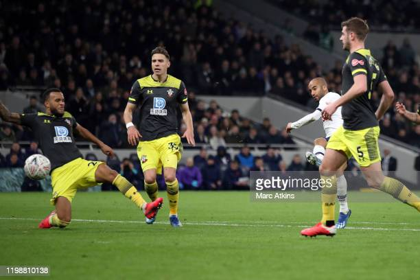 Lucas Moura of Tottenham Hotspur scores their 2nd goal during the FA Cup Fourth Round Replay match between Tottenham Hotspur and Southampton FC at...