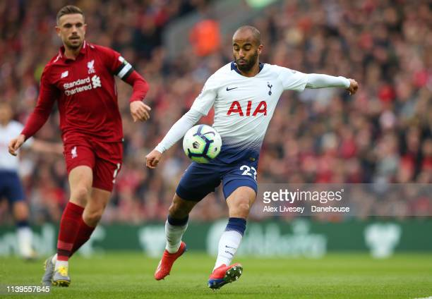 Lucas Moura of Tottenham Hotspur shoots during the Premier League match between Liverpool FC and Tottenham Hotspur at Anfield on March 31 2019 in...