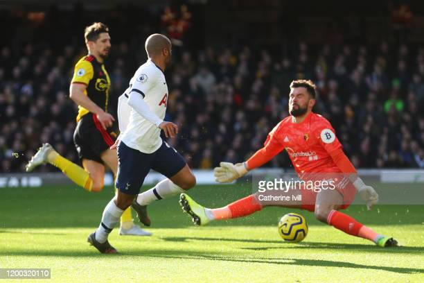 Lucas Moura of Tottenham Hotspur shoots on goal saved by Ben Foster of Watford during the Premier League match between Watford FC and Tottenham...