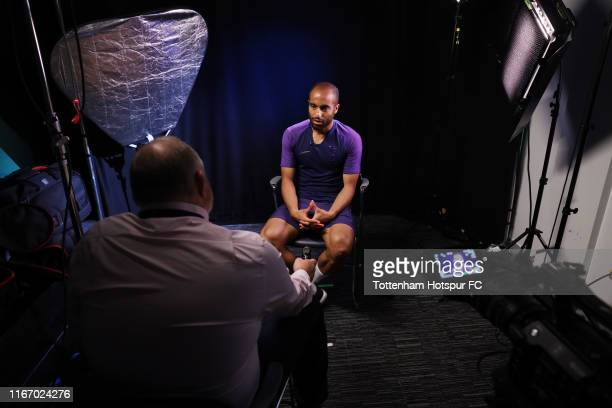 Lucas Moura of Tottenham Hotspur signs a contract extension at Tottenham Hotspur Training Centre on August 09, 2019 in Enfield, England.