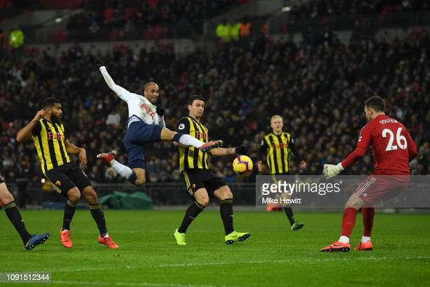 Lucas Moura of Tottenham Hotspur stretches for the ball during the Premier League match between Tottenham Hotspur and Watford FC at Wembley Stadium...