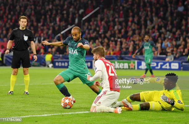 Lucas Moura of Tottenham Hotspur turns as he scores his team's second goal during the UEFA Champions League Semi Final second leg match between Ajax...