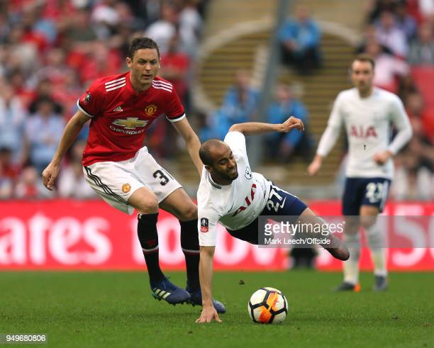 Lucas Moura of Tottenham is fouled by Nemanja Matic of Man Utd during the FA Cup semi final between Manchester United and Tottenham Hotspur at...