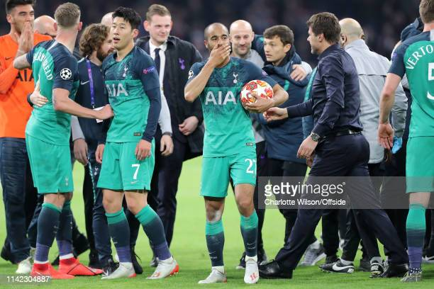 Lucas Moura of Tottenham looks overwhelmed as he celebrates his hattrick and win during the UEFA Champions League Semi Final second leg match between...