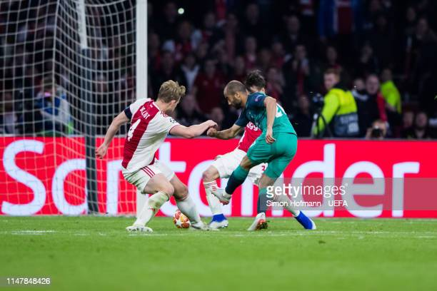 Lucas Moura of Tottenham scores his team's third goal past Matthijs de Ligt of Ajax during the UEFA Champions League Semi Final second leg match...
