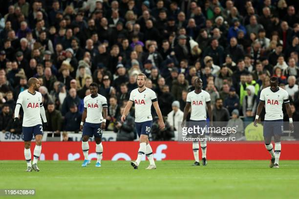 Lucas Moura Serge Aurier Harry Kane Davinson Sanchez and Moussa Sissoko of Tottenham Hotspur look on after they conceded their first goal during the...