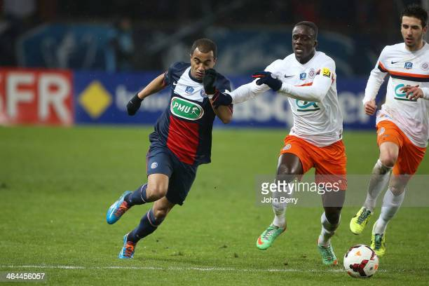 Lucas Mouras of PSG in action during the French Cup match between Paris SaintGermain FC and Montpellier HSC at the Parc des Princes stadium on...
