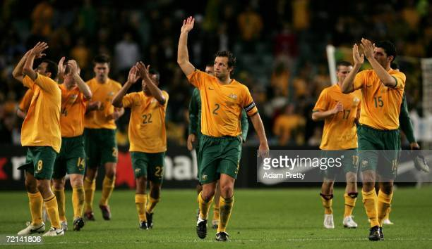 Lucas Neill and the other Socceroos applaud the crowd after the Asian Football Confederation Asian Cup 2007 qualifying match between Australia and...