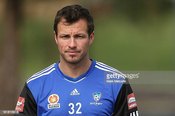 Lucas Neill arrives for a Sydney FC ALeague training session at Macquarie Uni on February 17 2013 in Sydney Australia