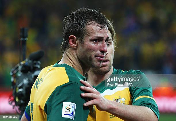 Lucas Neill of Australia cries after the 2010 FIFA World Cup South Africa Group D match between Australia and Serbia at Mbombela Stadium on June 23...