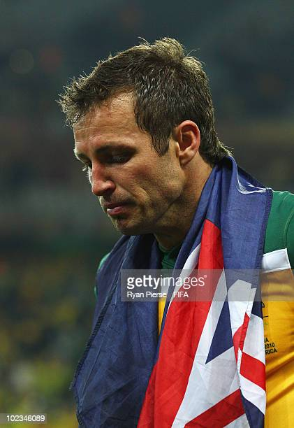Lucas Neill of Australia leaves the field dejected after the 2010 FIFA World Cup South Africa Group D match between Australia and Serbia at Mbombela...