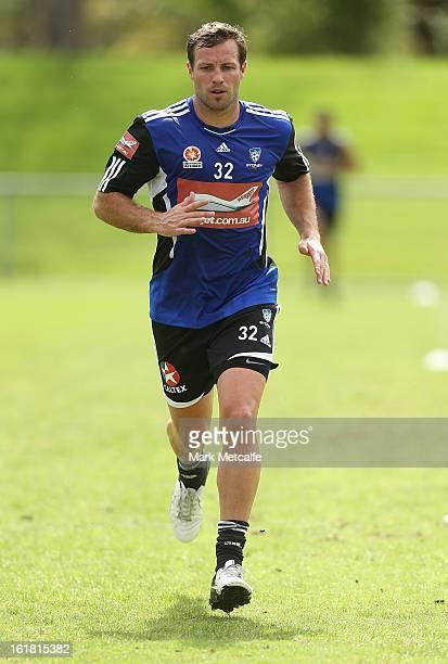 Lucas Neill runs during a Sydney FC ALeague training session at Macquarie Uni on February 17 2013 in Sydney Australia