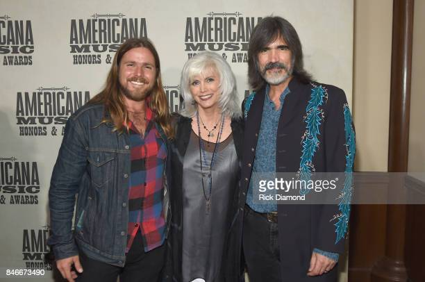 Lucas Nelson Emmylou Harris and Larry Campbell attend the 2017 Americana Music Association Honors Awards on September 13 2017 in Nashville Tennessee