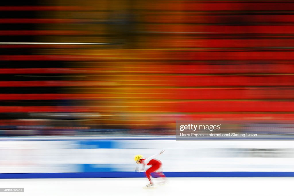Lucas Ng of Singapore in action during the Men's 1000m RR Heats on day three of the ISU World Short Track Speed Skating Championships at the Krylatskoe Speed Skating Centre on March 15, 2015 in Moscow, Russia.