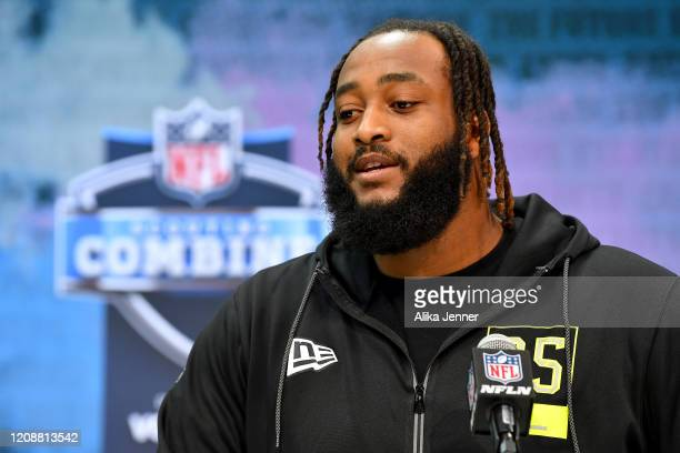 Lucas Niang #OL35 of Texas Christian interviews during the second day of the 2020 NFL Scouting Combine at Lucas Oil Stadium on February 26 2020 in...