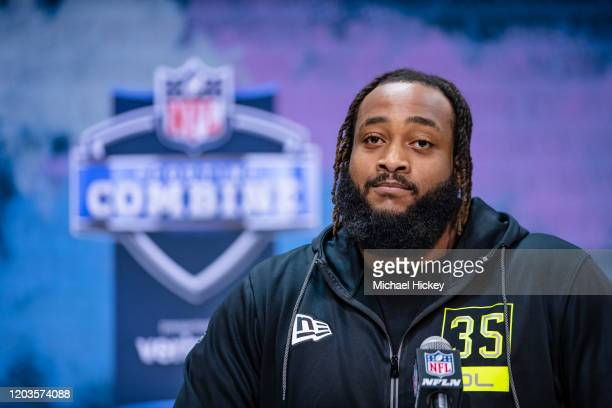 Lucas Niang #OL35 of the TCU Horned Frogs speaks to the media at the Indiana Convention Center on February 26 2020 in Indianapolis Indiana Lucas Niang