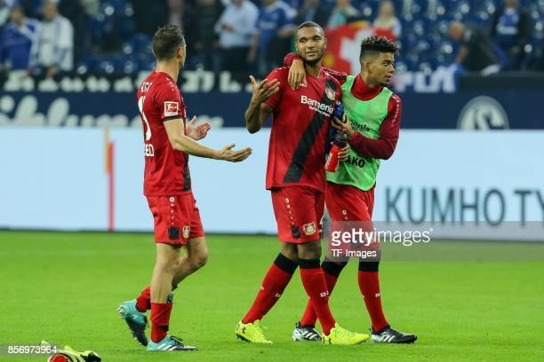 Lucas Nicolas Alario of Leverkusen Jonathan Tah of Leverkusen and Benjamin Henrichs of Leverkusen looks on during the Bundesliga match between FC...