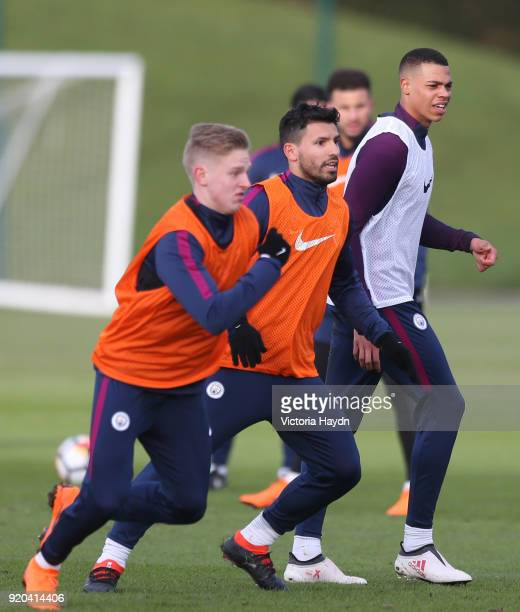 Lucas Nmecha during training at Manchester City Football Academy on February 17 2018 in Manchester England